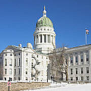 Maine State Capitol Building In Winter Augusta Print by Keith Webber Jr