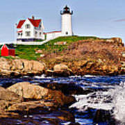 Maine's Nubble Light Print by Mitchell R Grosky