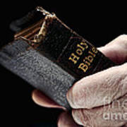Man Hands Holding Old Bible Print by Olivier Le Queinec