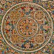 Mandala Of Heruka In Yab Yum And Buddhas Print by Lanjee Chee
