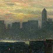 Manhattans Misty Sunset Print by Childe Hassam