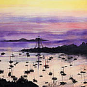Marblehead Sunset Watercolor Print by Michelle Wiarda