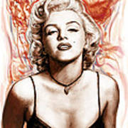 Marilyn Monroe Pop Art Drawing Sketch Portrait Print by Kim Wang