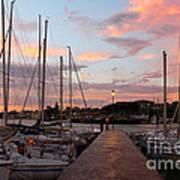 Marina In Desenzano Del Garda Sunrise Print by Kiril Stanchev