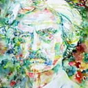 Mark Twain - Watercolor Portrait Print by Fabrizio Cassetta