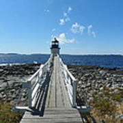 Marshall Point Lighthouse From Shoreline Print by Joseph Rennie
