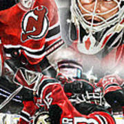 Martin Brodeur Collage Print by Mike Oulton