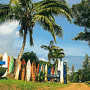 Maui Surfboard Fence - Peahi Print by Sharon Mau