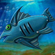 Mechanical Fish 4 Print by David Kyte