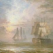 Men Of War At Anchor Print by Henry Thomas Dawson