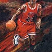 Michael Jordan Chicago Bulls Basketball Legend Print by Christiaan Bekker