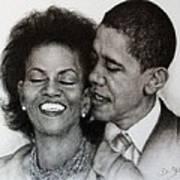 Michelle Et Barack Obama Print by Guillaume Bruno