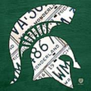 Michigan State Spartans Sports Retro Logo License Plate Fan Art Print by Design Turnpike