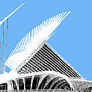 Milwaukee Skyline Art Museum - Light Blue Print by DB Artist