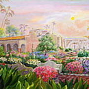 Misty Morning At Mission San Juan Capistrano  Print by Jan Mecklenburg