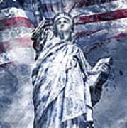 Modern Art Statue Of Liberty Blue Print by Melanie Viola