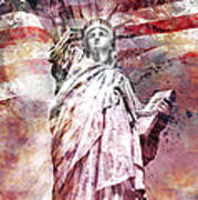 Modern Art Statue Of Liberty Red Print by Melanie Viola