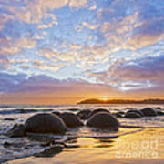 Moeraki Boulders Otago New Zealand Sunrise Print by Colin and Linda McKie