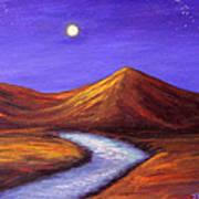 Moon And Cygnus Print by Janet Greer Sammons