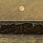 Moon Fishing Print by Steven Parks
