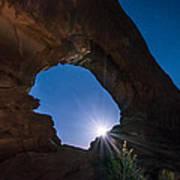 Moon Through Arches Windows Print by Michael J Bauer
