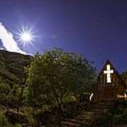 Moonrise Chapel Print by Aaron S Bedell