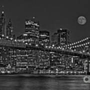 Moonrise Over The Brooklyn Bridge Bw Print by Susan Candelario