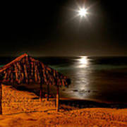 Moonset Over Windnsea Print by Peter Tellone