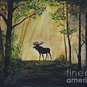 Moose Magnificent Print by Leslie Allen