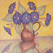 Morning Glories With Yellow Background Print by Claudia Cox