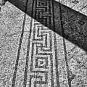 Mosaic 1 Ceasarea Phillippi Beit Sha'en Israel Bw Print by Mark Fuller