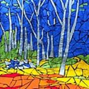 Mosaic Stained Glass - My Woods Print by Catherine Van Der Woerd
