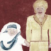 Mother Teresa And Princess Diana In Heaven 3 Print by Richard W Linford