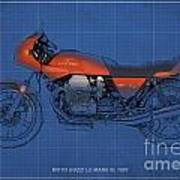 Moto Guzzi Le Mans IIi 1981 Vintage Style Print by Pablo Franchi