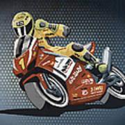 Motorbike Racing Grunge Color Print by Frank Ramspott