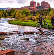 Mountain Bikers Crossing Cathedral Falls Print by Linda Pulvermacher