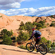 Mountain Biking Moab Slickrock Trail - Utah Print by Gary Whitton