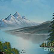 Mountain Lake Painting A La Bob Ross Print by Bruno Santoro