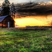 Mountain Sun Behind Barn Print by Derek Haller