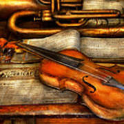 Music - Violin - Played It's Last Song  Print by Mike Savad