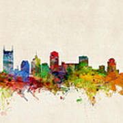 Nashville Tennessee Skyline Print by Michael Tompsett