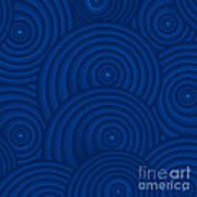 Navy Blue Abstract Print by Frank Tschakert