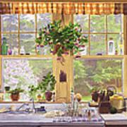 New England Kitchen Window Print by Mary Helmreich
