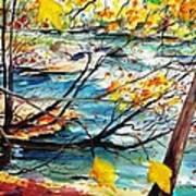 New England Leaves Along The River Print by Scott Nelson