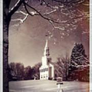 New England Winter Village Scene Print by Thomas Schoeller