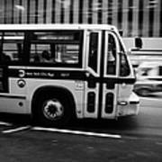New York Mta City Bus Speeding Along 34th Street Usa Print by Joe Fox