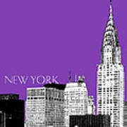 New York Skyline Chrysler Building - Purple Print by DB Artist