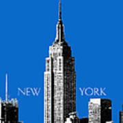 New York Skyline Empire State Building - Blue Print by DB Artist