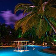Night At Tropical Resort Print by Jenny Rainbow