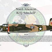 North American B-25j Mitchell Yellow Rose Print by Arthur Eggers